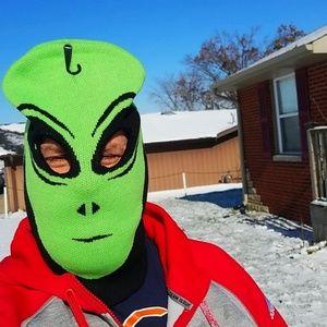 Alien Ski Face Mask Green Black Adult Sz UFO Bin2